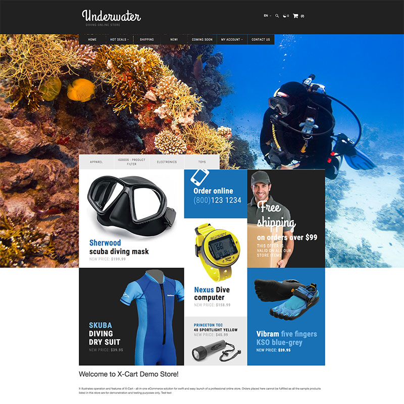 Scuba Diving X-Cart Template