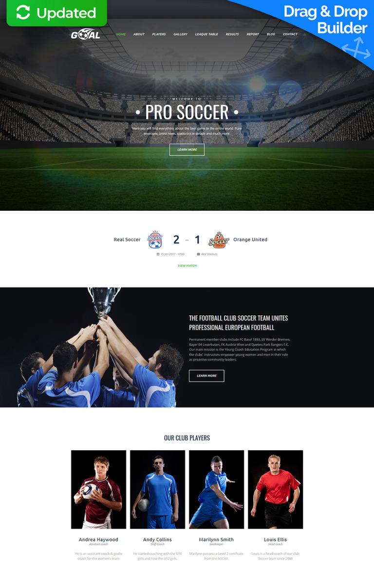 Soccer Club Premium Moto CMS 3 Template New Screenshots BIG