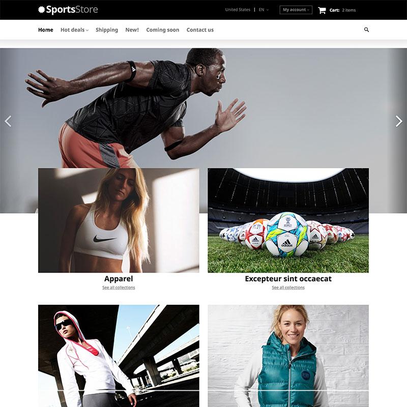"""Sports Clothes Equipment"" 响应式X购物车模板 #63431"