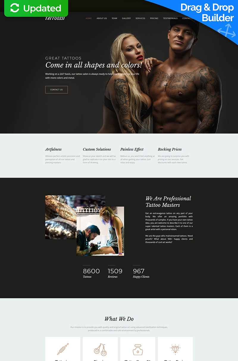 """""""Tattoossi - Tattoo Salon Premium"""" 响应式Moto CMS 3 模板 #63473"""