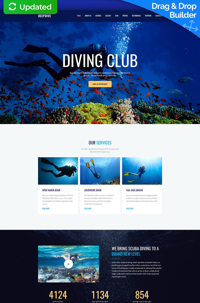 "Tema Moto CMS 3 Responsive #63474 ""Deepdive - Sports & Outdoors & Diving"""