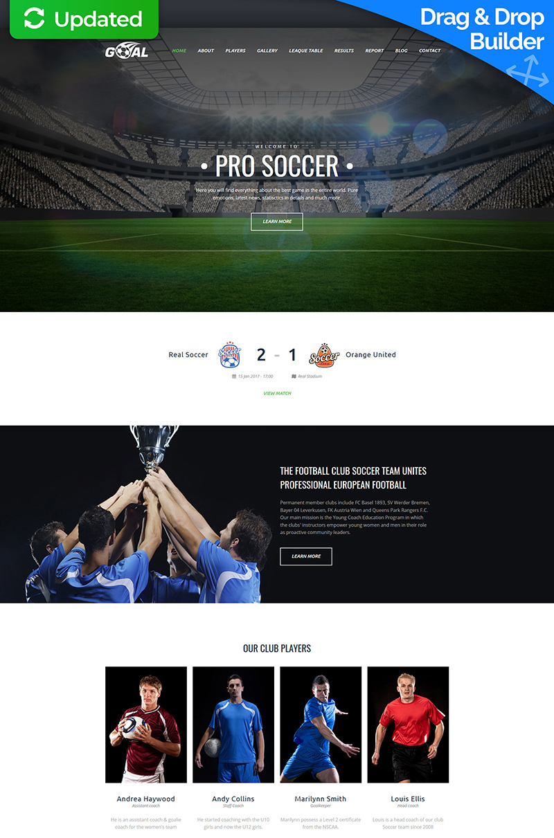 "Template Moto CMS 3 Responsive #63454 ""Soccer Club Premium"""