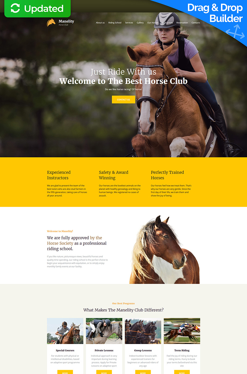 "Template Moto CMS 3 Responsive #63478 ""Manelity - Equestrian & Horse Riding Club Premium"""
