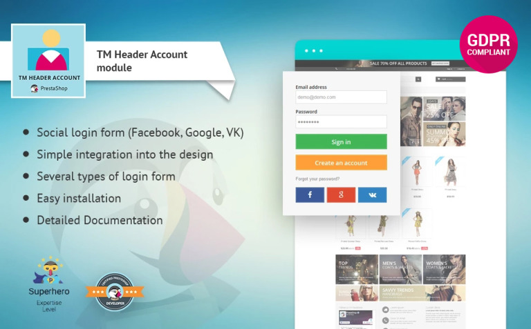 TM Header Account PrestaShop Module New Screenshots BIG