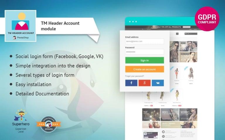 TM Header Account PrestaShop Module New Screenshots BIG