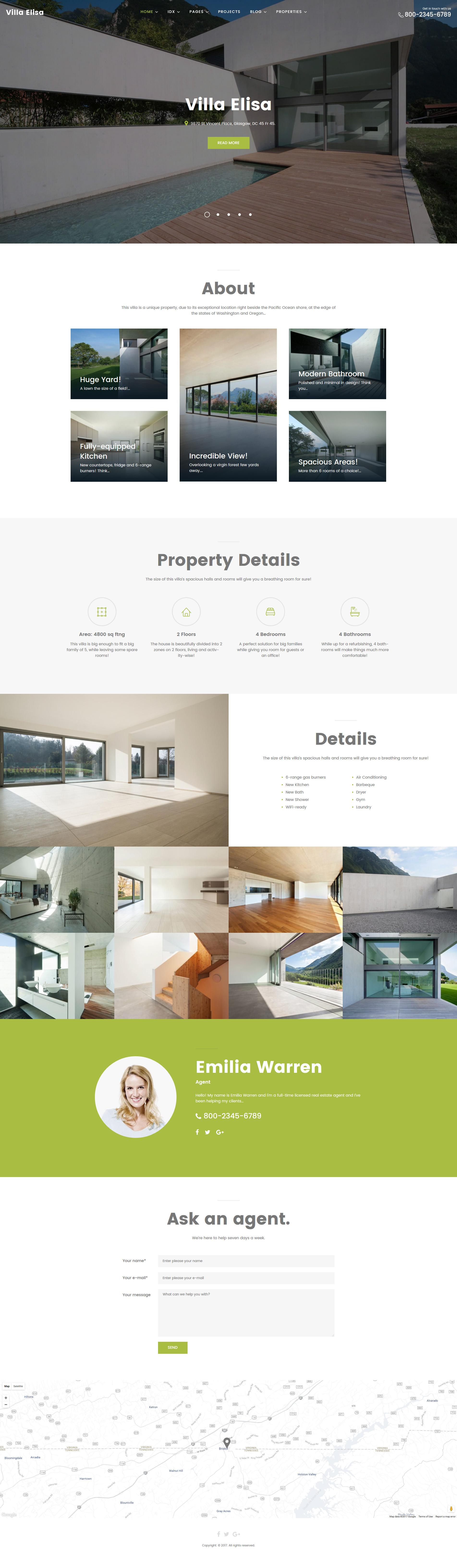 """Villa Elisa - Real Estate Responsive WordPress Theme"" Responsive WordPress thema №63428"