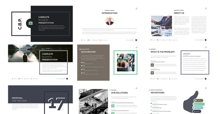 complete business presentation powerpoint template #63510, Presentation templates