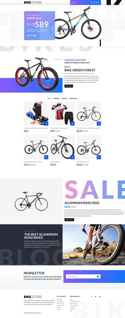 Адаптивный OpenCart шаблон №63558 на тему велосипеды #63558