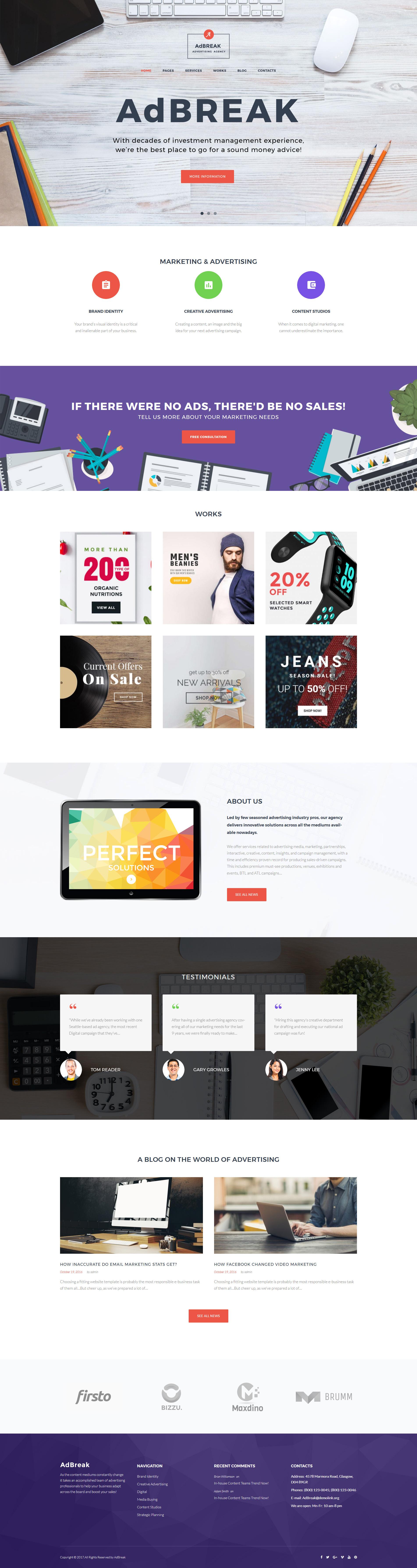 AdBreak - Advertising Company Tema WordPress №63502 - captura de tela