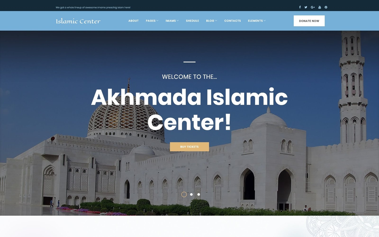 """Akhmada - Islamic Center WordPress Theme"" 响应式WordPress模板 #63570"