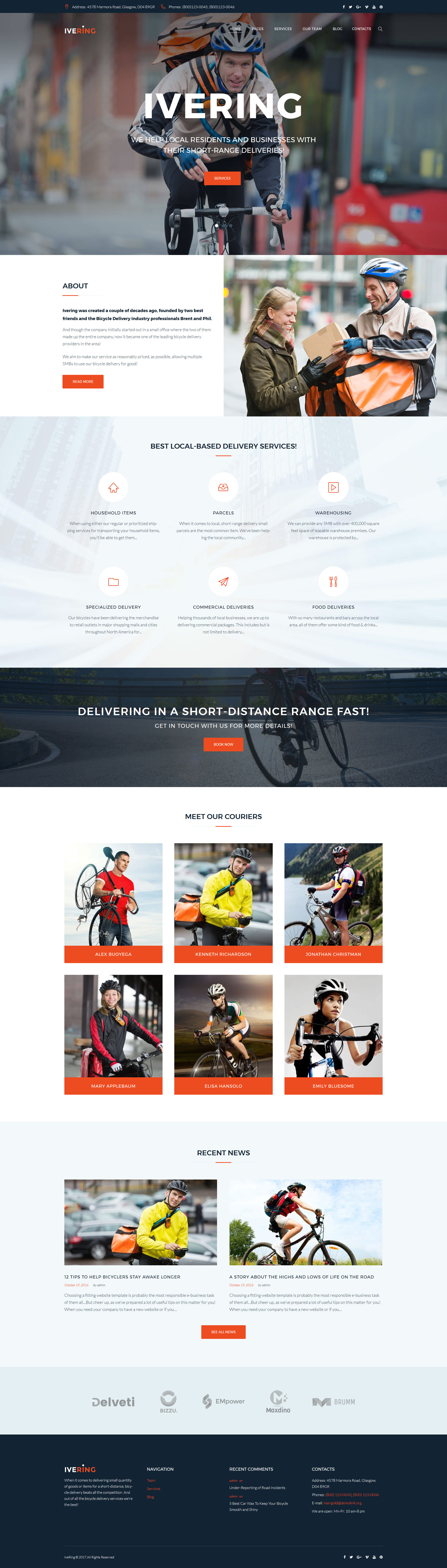 Bike Courier & Package Delivery WordPress Theme