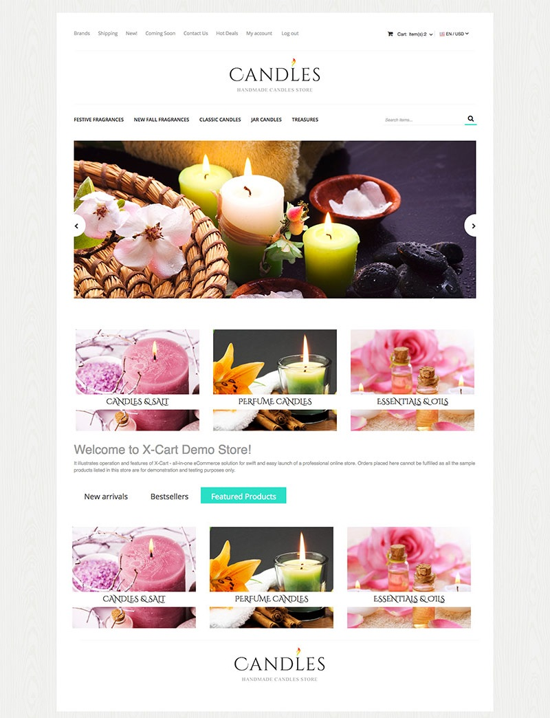 """Candles"" Responsive X-Cart Template №63577"