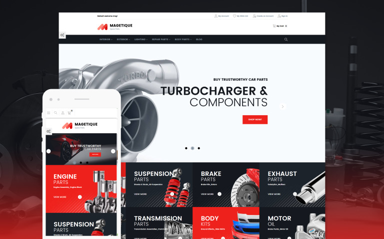 Car Spare Parts Retina-Ready Magento Theme New Screenshots BIG