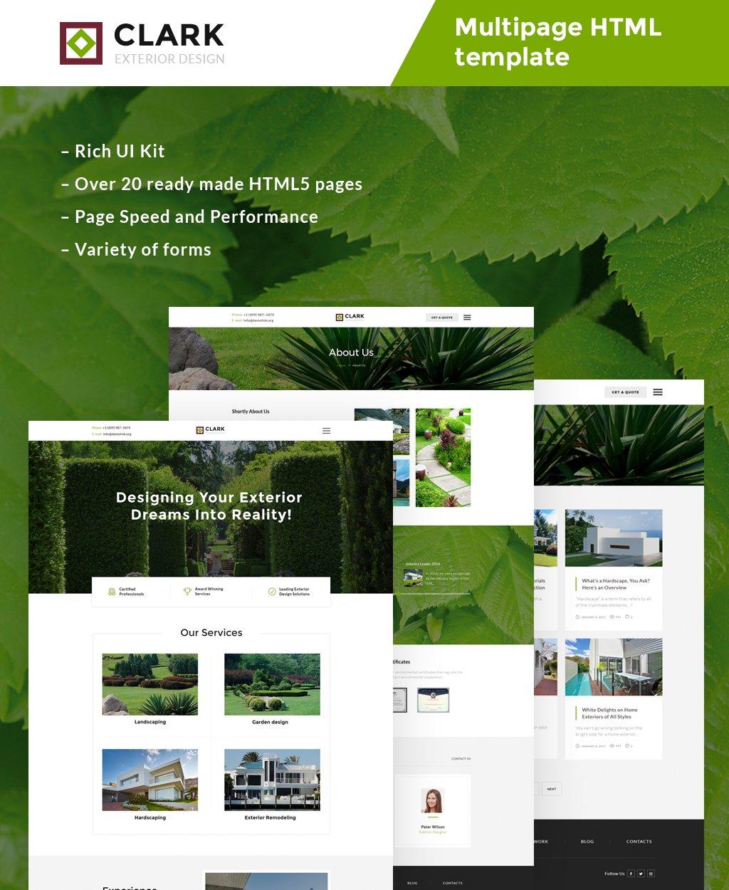 """Clark Exterior Design Responsive"" modèle web adaptatif #63507"