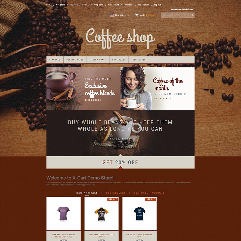 """Coffee Shop"" X-Cart Template №63541"