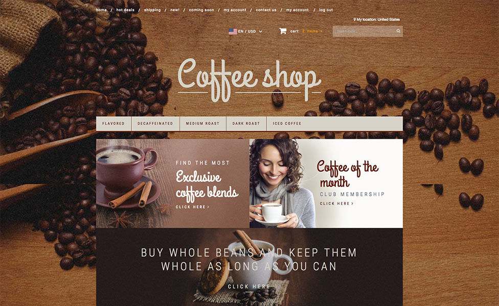 Coffee Shop X Cart Template New Screenshots BIG