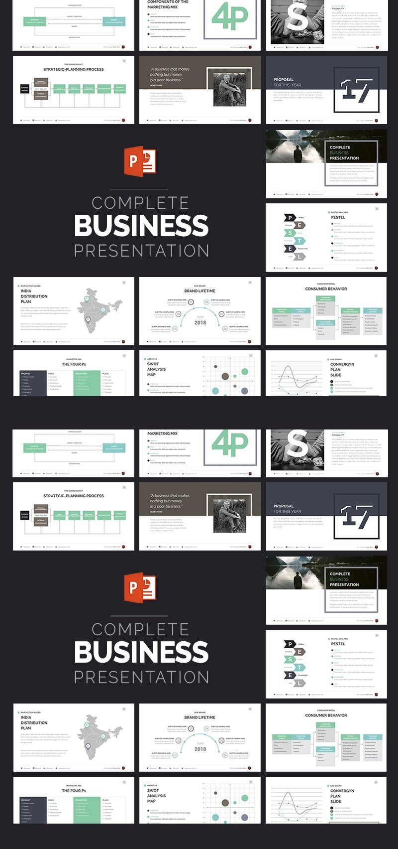 """Complete Business Presentation"" PowerPoint 模板 #63510"