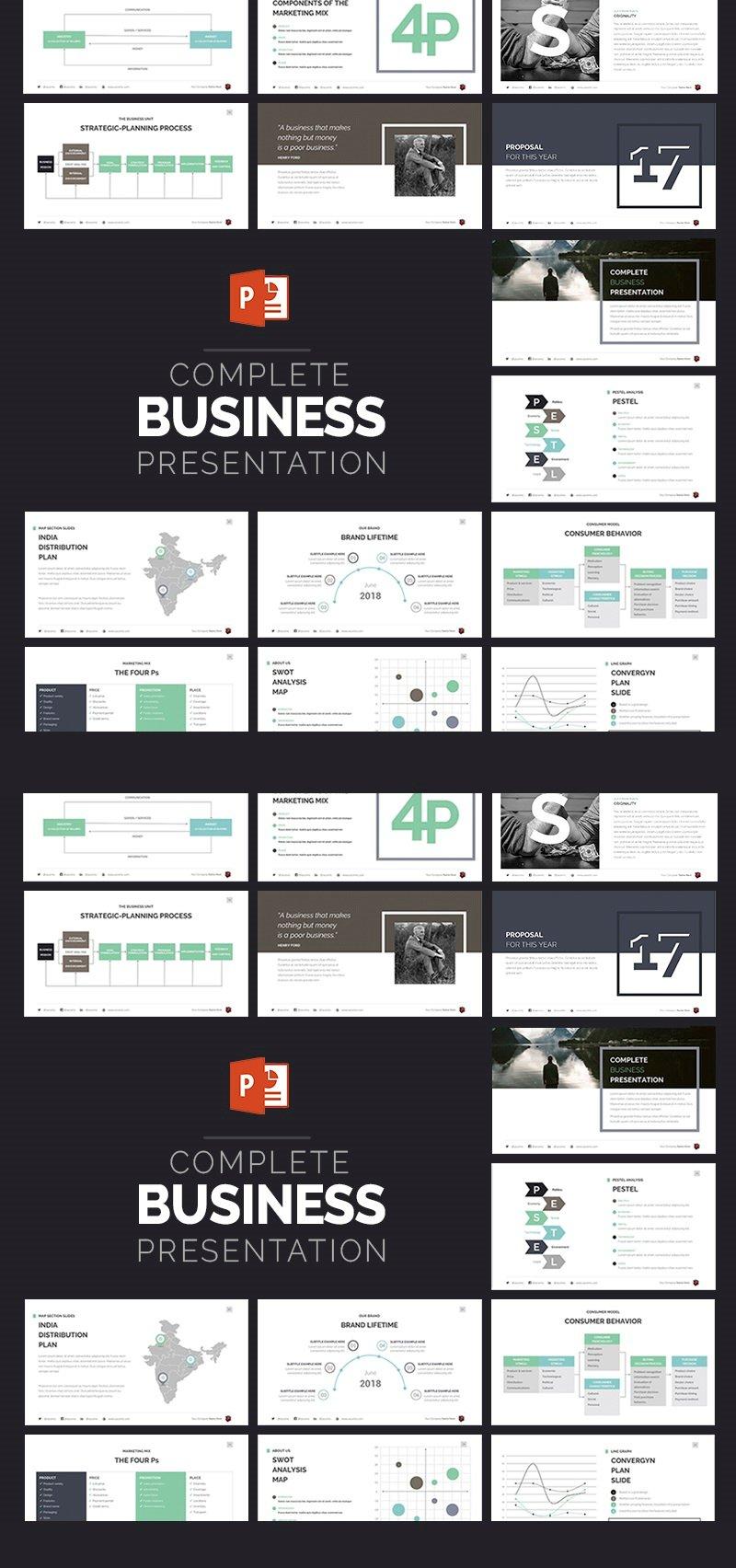 """Complete Business Presentation"" PowerPoint 模板 #63510 - 截图"