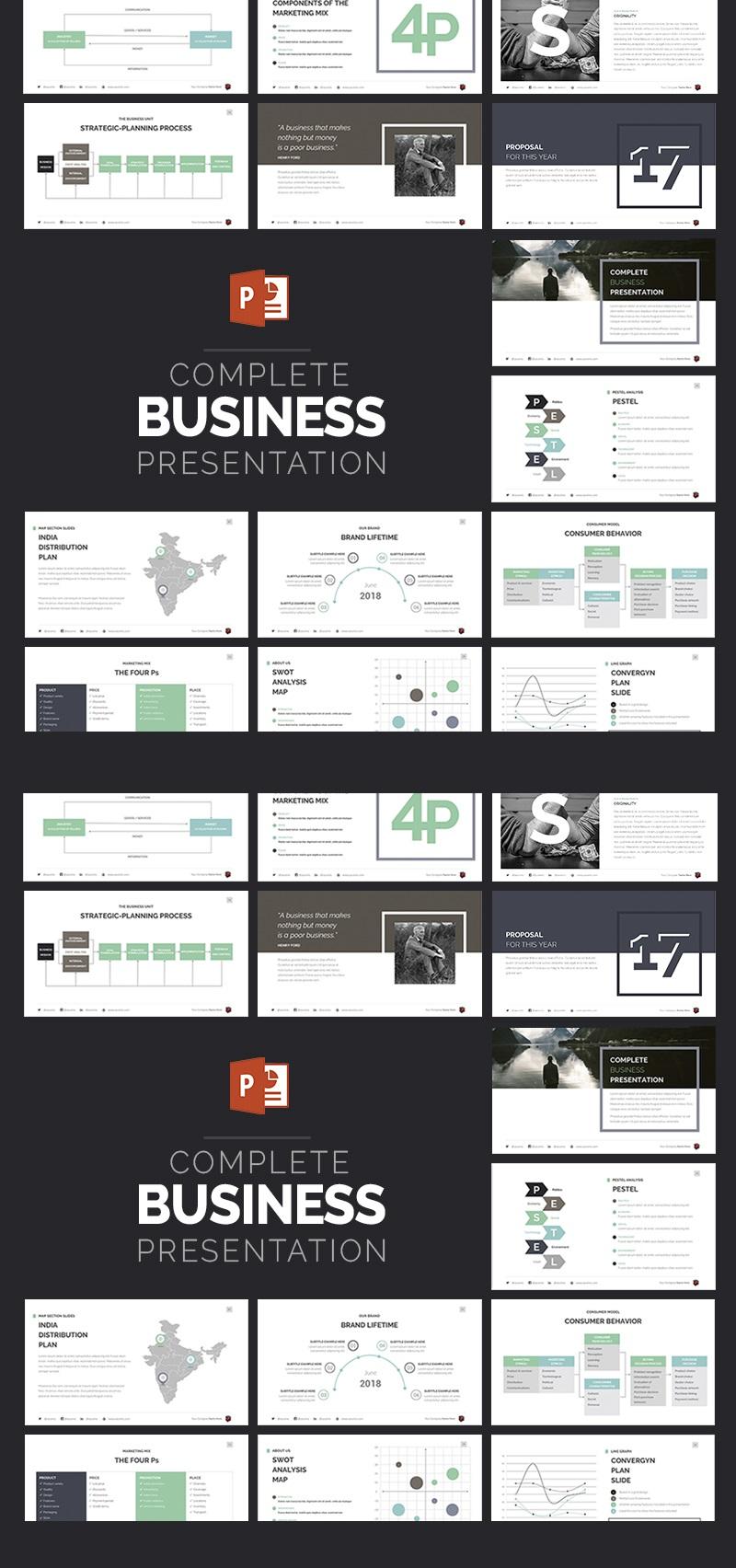 Complete Business Presentation PowerPoint sablon 63510 - képernyőkép