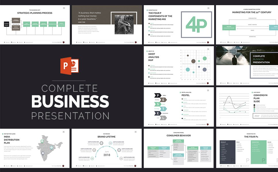 complete business presentation powerpoint template 63510