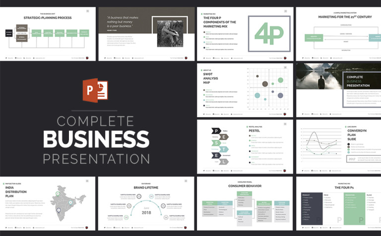 Complete Business Presentation PowerPoint Template New Screenshots BIG