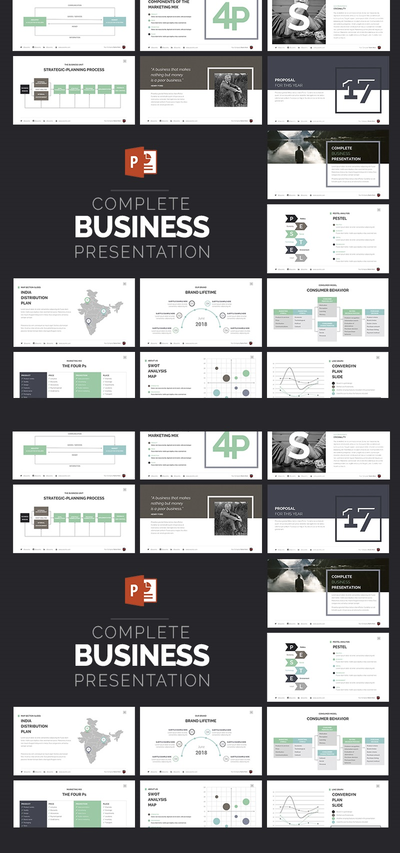 Complete Business Presentation Template PowerPoint №63510 - captura de tela