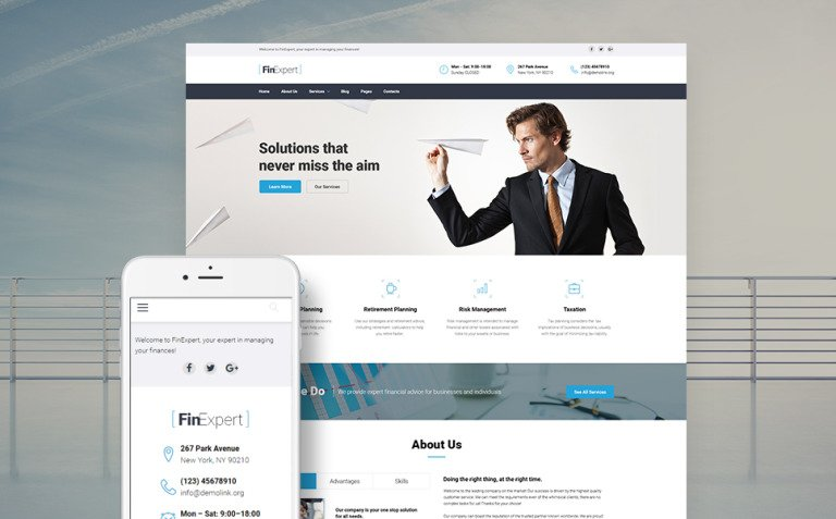 FinExpert - Financial Advisory Company Responsive WordPress Theme New Screenshots BIG