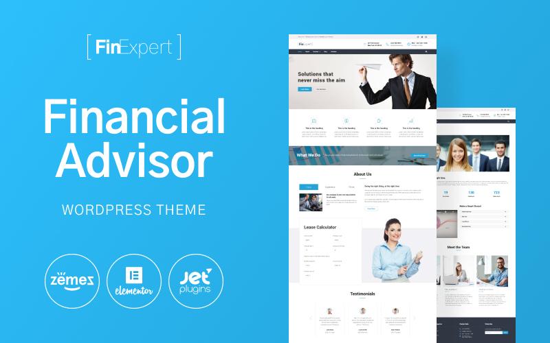 """FinExpert - Financial Advisory Company Responsive"" 响应式WordPress模板 #63599"