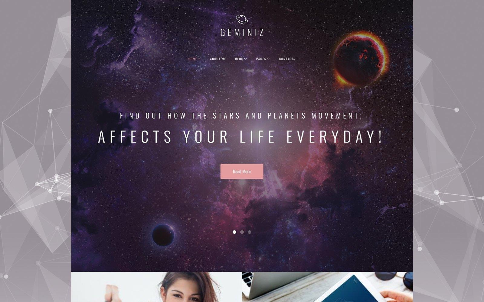 """Geminiz - Astrology Blog WordPress Theme"" 响应式WordPress模板 #63538"