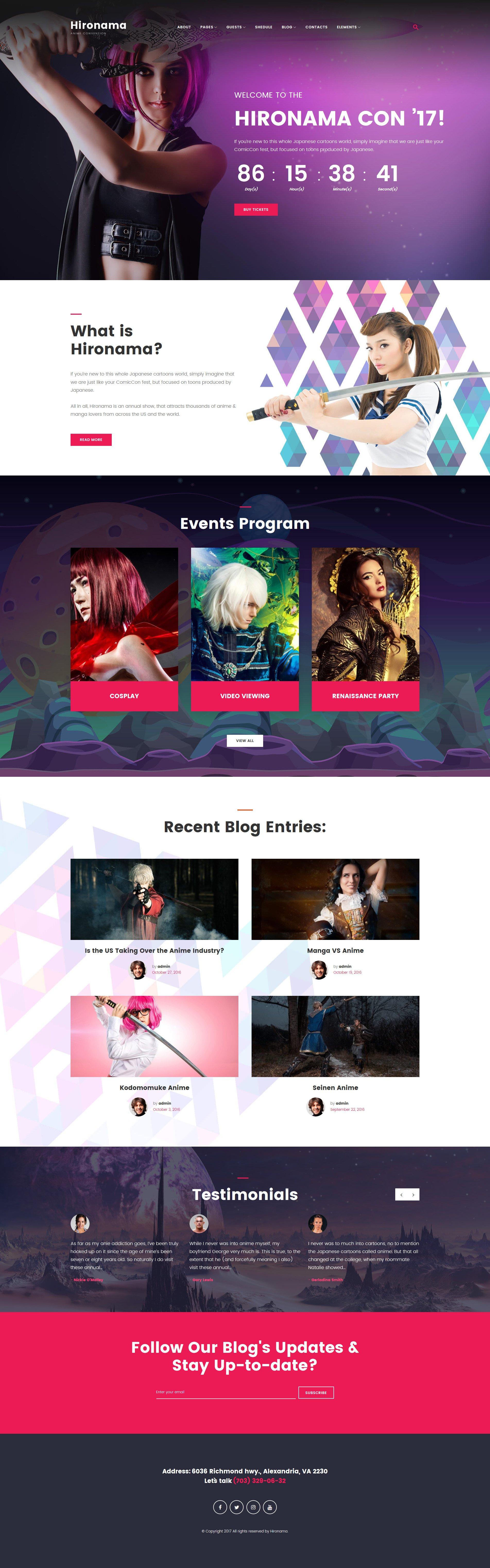 Hironama - Anime Convention WordPress Theme WordPress Theme - screenshot