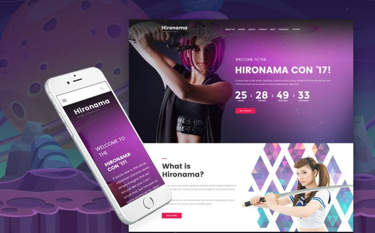 Hironama - Anime Convention WordPress Theme New Screenshots BIG