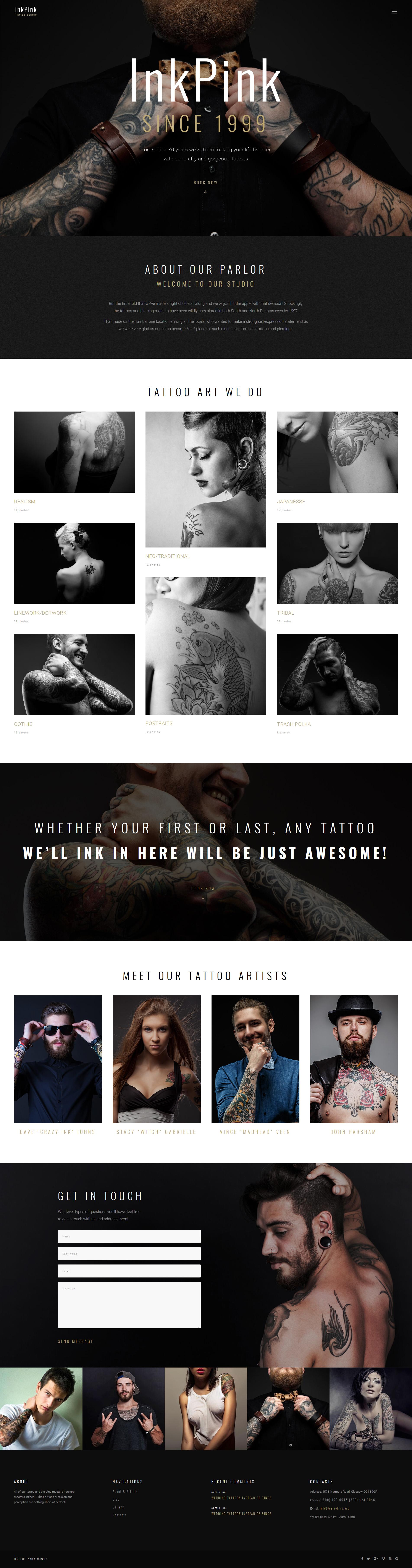 """InkPink - Tattoo Studio"" 响应式WordPress模板 #63591"