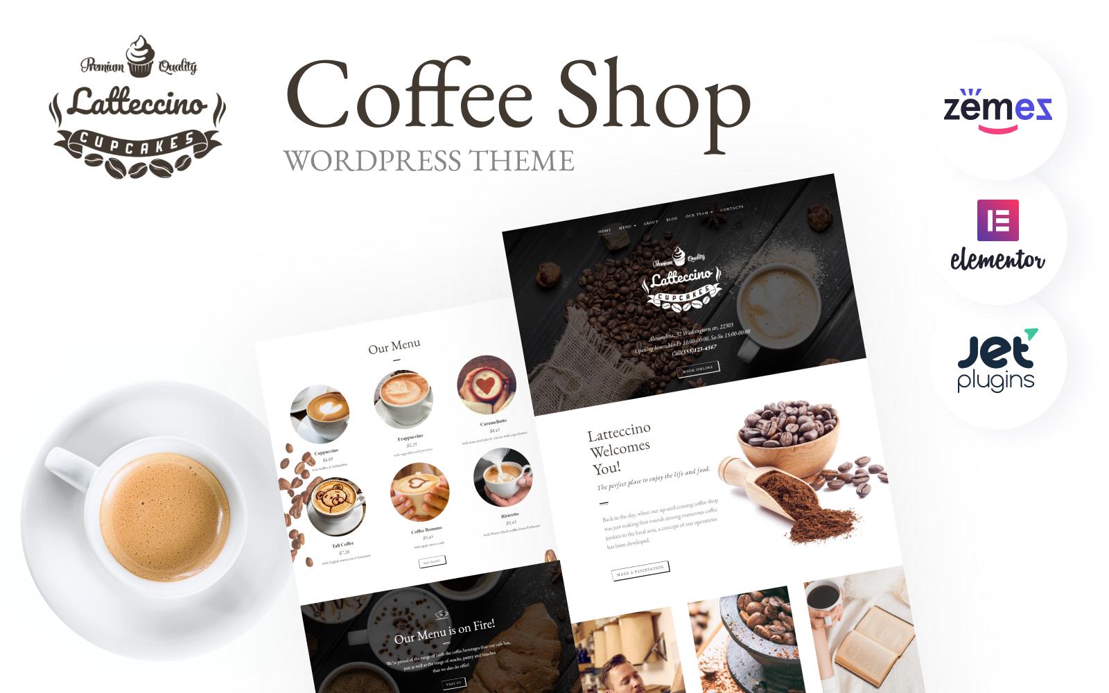 """Latteccino - Coffee Shop"" Responsive WordPress thema №63569"
