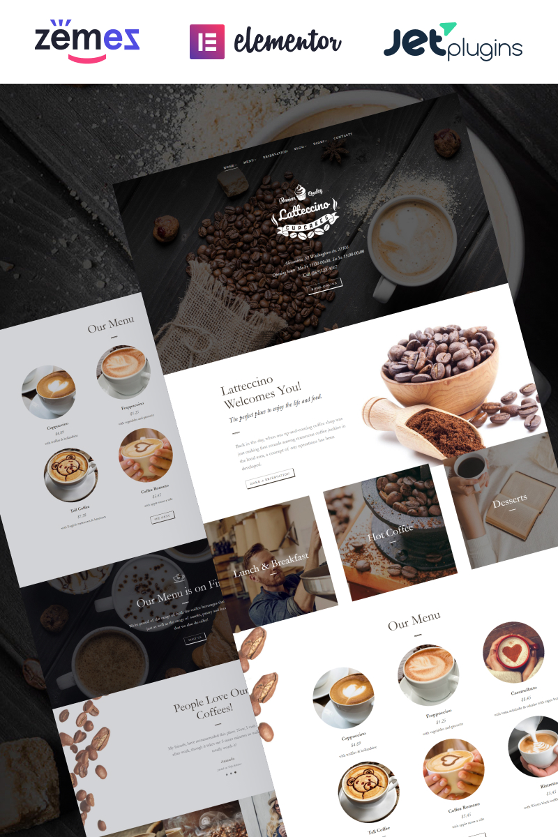 """Latteccino - Coffee Shop"" thème WordPress adaptatif #63569"