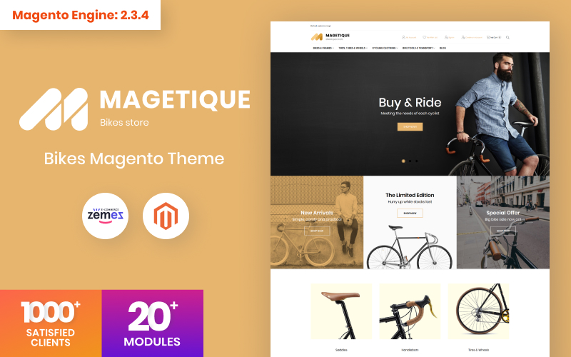 "Magento Theme namens ""Magetique - Bikes AMP"" #63513"