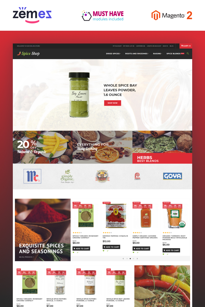 "Magento Theme namens ""Spices Store - Spices Bootstrap Template"" #63588"