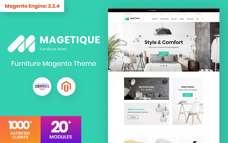 """Magetique - Furniture"" - адаптивний Magento шаблон №63514"