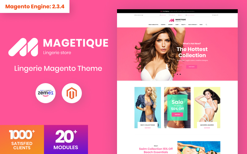 """Magetique - Lingerie"" 响应式Magento模板 #63516"