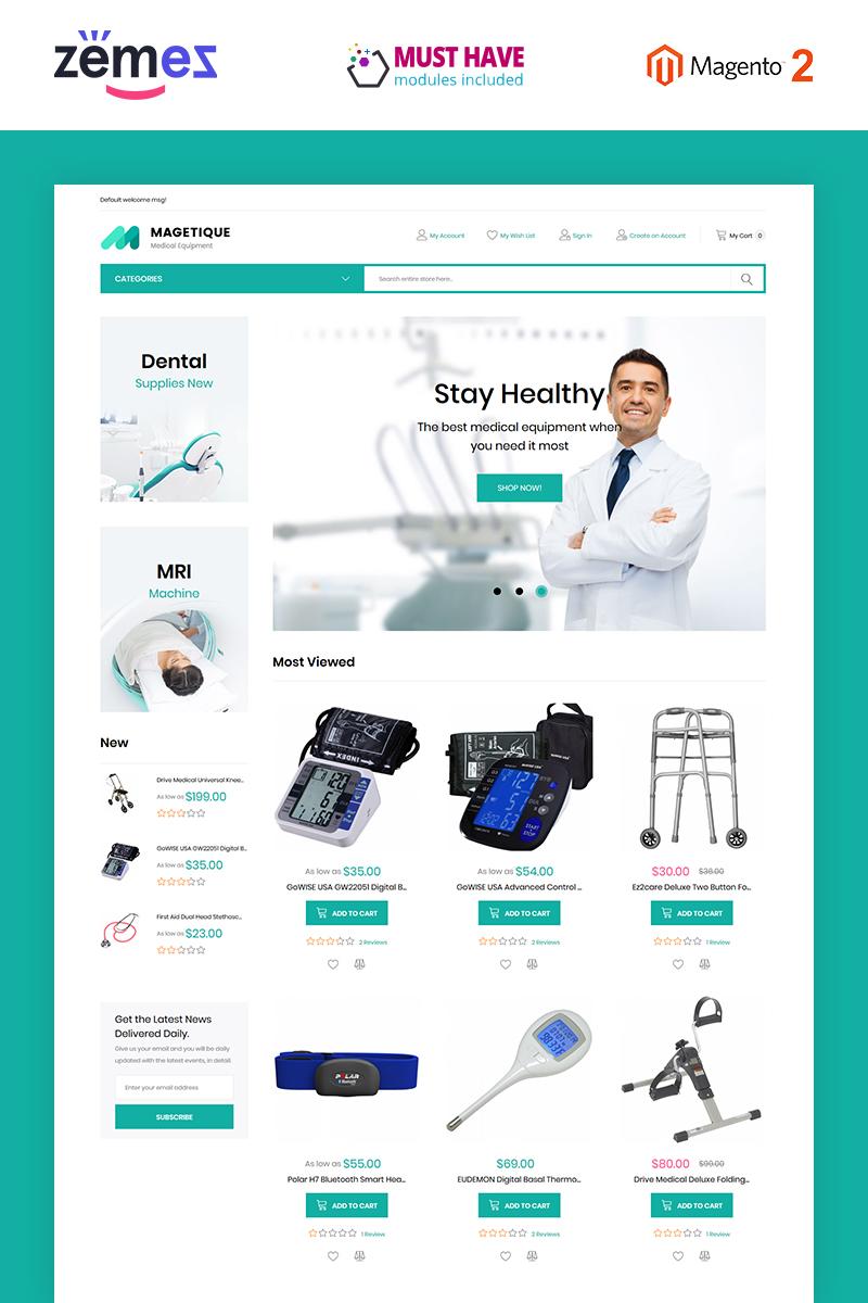 """Magetique - Medical Equipment"" - адаптивний Magento шаблон №63512"