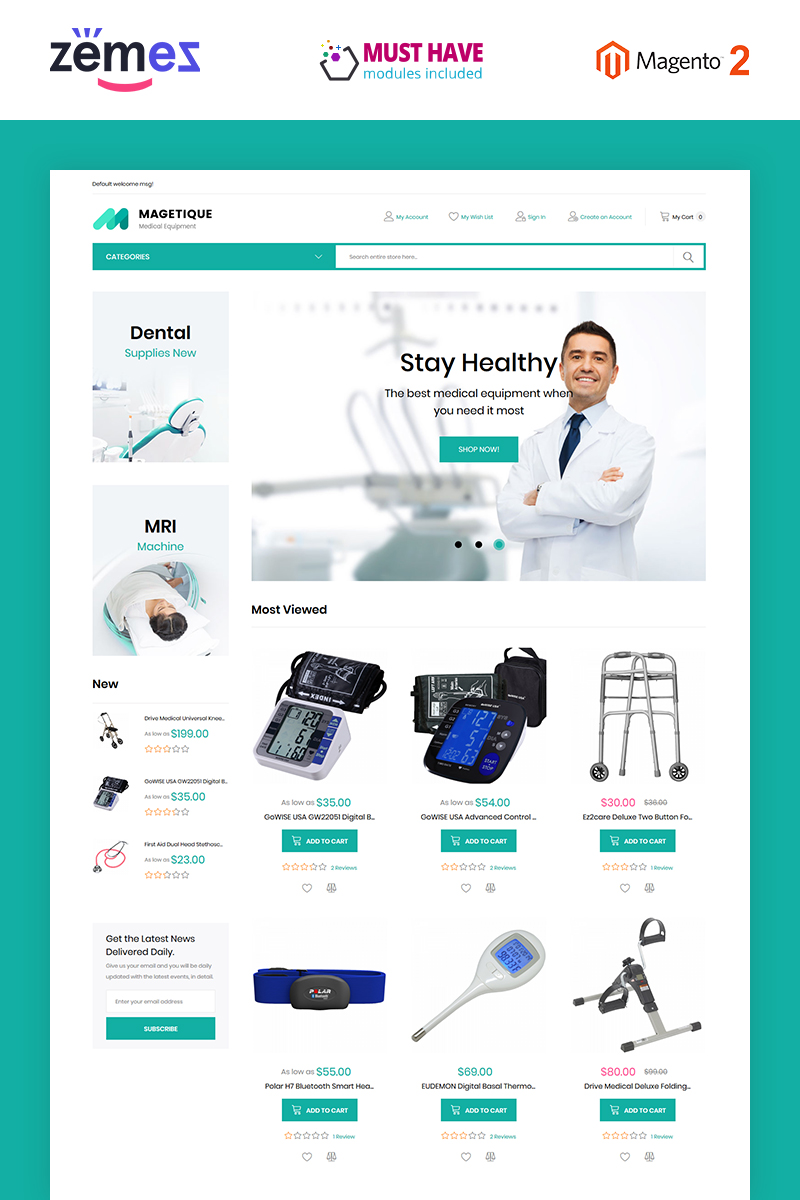 Magetique - Medical Equipment Magento Theme - screenshot