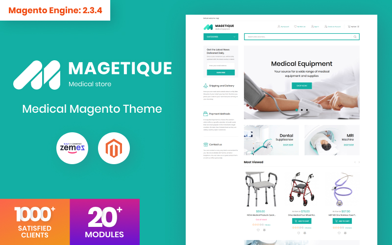 """Magetique - Medical Equipment"" 响应式Magento模板 #63512"