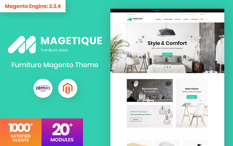 """""""Magetique - Meubles modernes"""" thème Magento adaptatif #63514"""