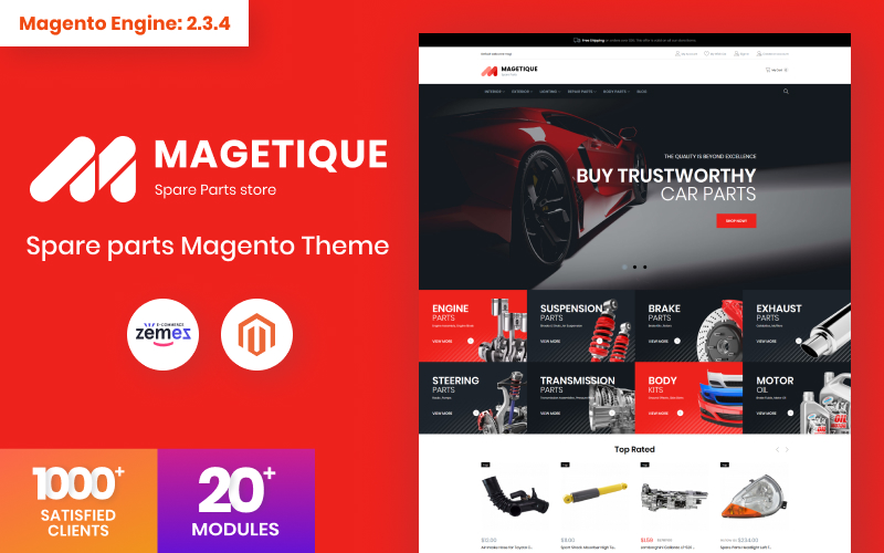 """Magetique - Spare parts"" Responsive Magento Thema №63515"
