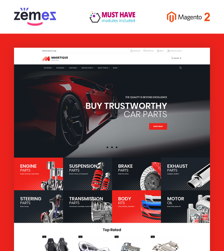 Sell Car For Parts >> Auto Parts Magento 2 Theme