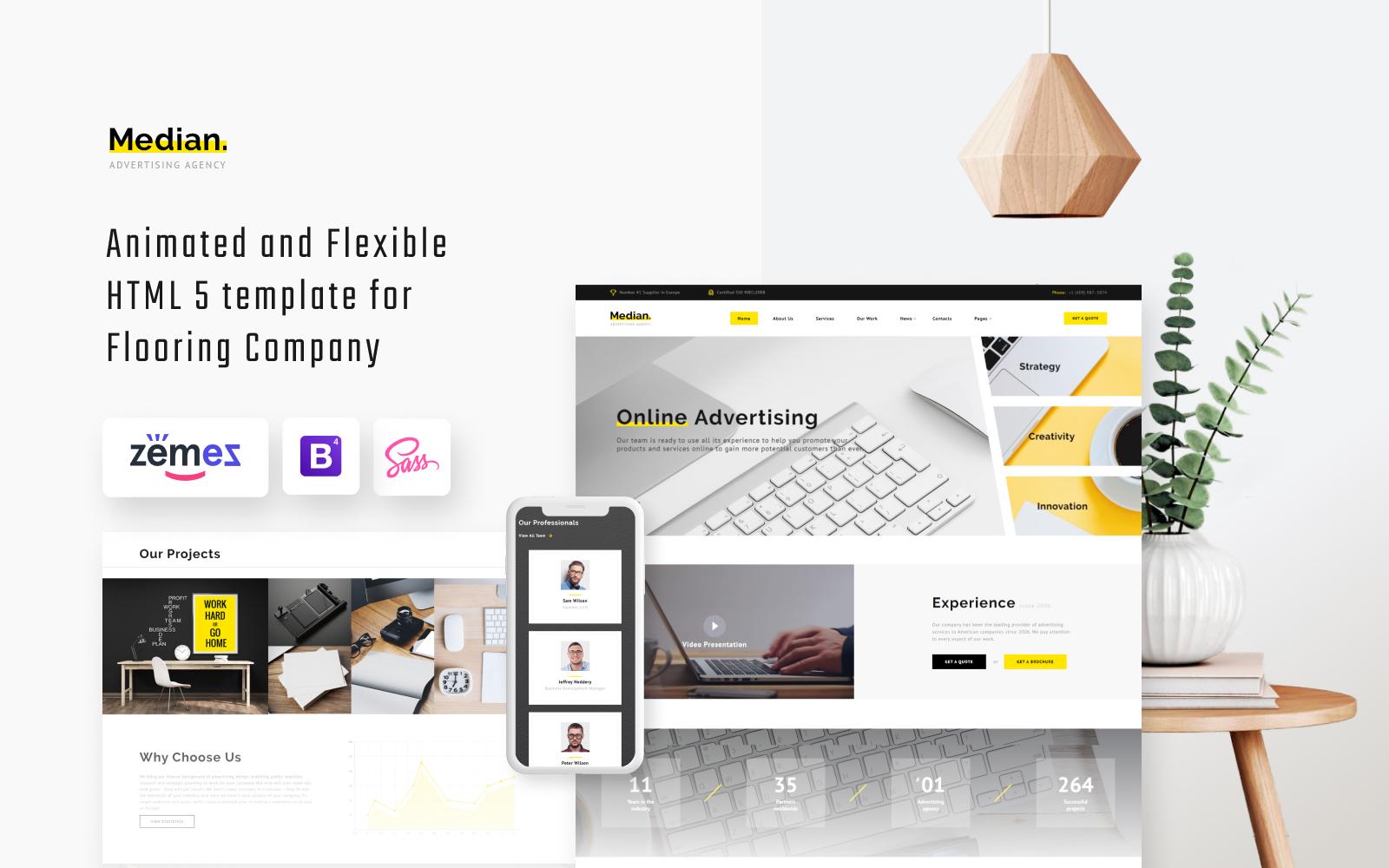 """Median - Advertising Agency HTML Website Template"" Responsive Website template №63506"