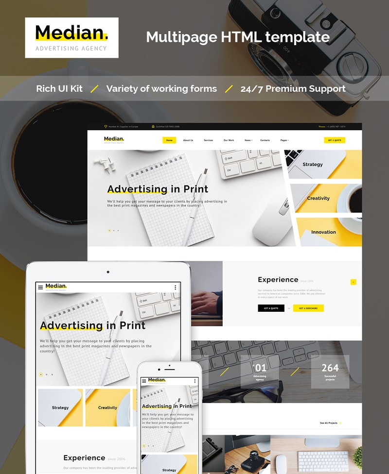 """Median - Advertising Agency HTML5"" - адаптивний Шаблон сайту №63506"