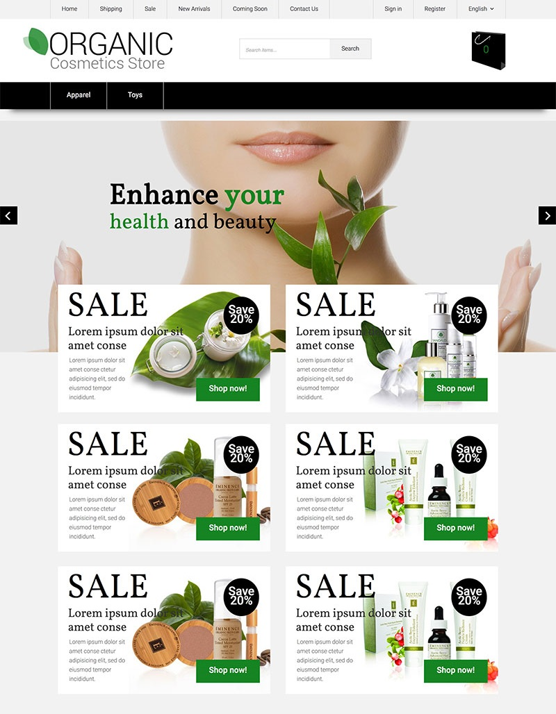 """Natural Cosmetics"" Responsive X-Cart Template №63578"