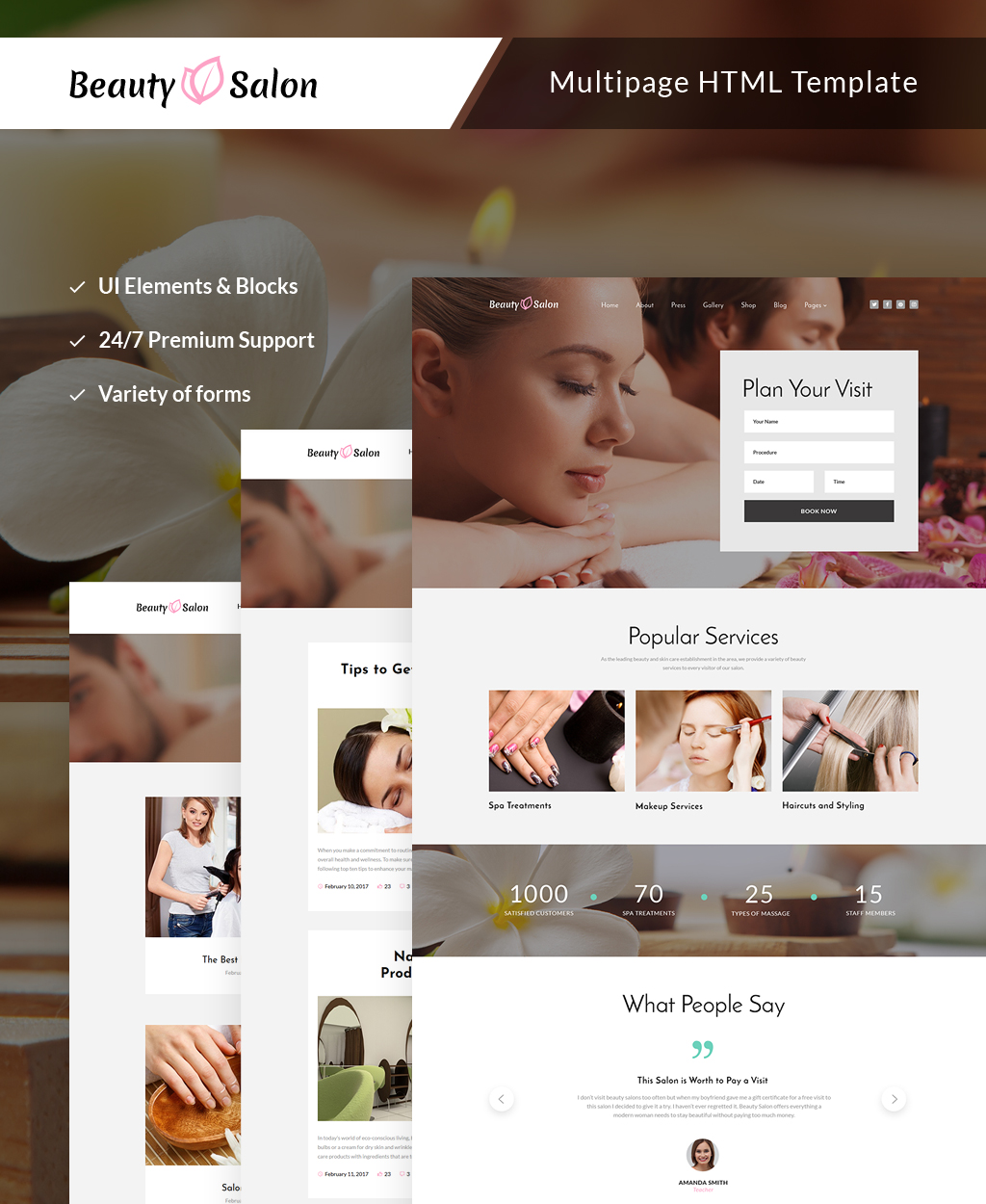 "Plantilla Web ""Beauty Salon Responsive Multipage"" #63505"