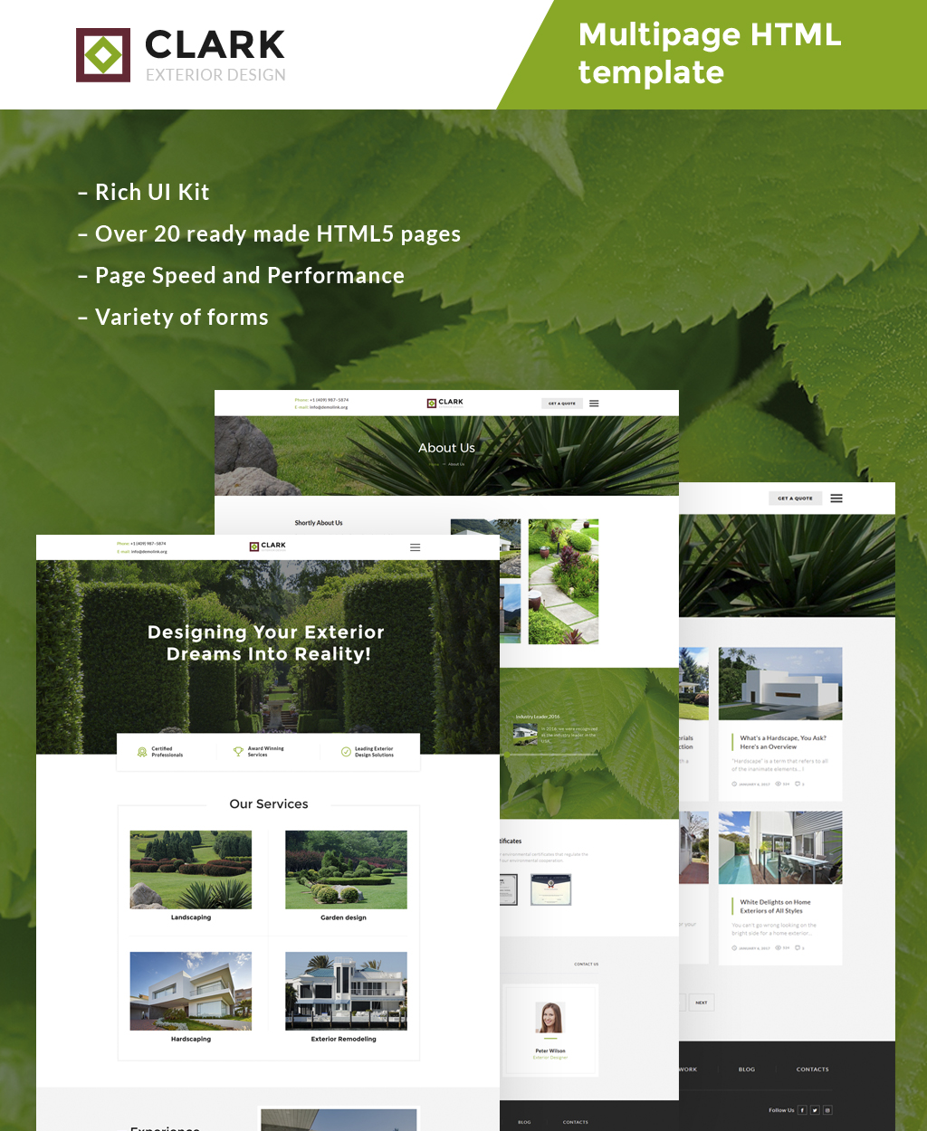 "Plantilla Web ""Clark Exterior Design Responsive"" #63507"