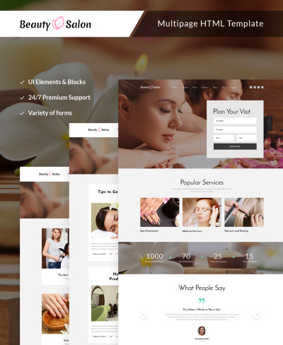 Beauty Salon Responsive Web Sitesi Şablonu